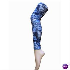 Womens Blue London/New York Structures Print Ladies Leggings Size 10/12 Leggins 6311270112183 on eBid United Kingdom