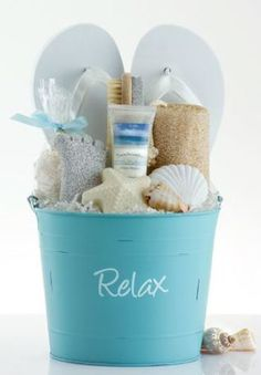 Create a Summery DIY Spa Gift Basket with FLIP FLOPS! Idea via Pleasant Surprises - Do it Yourself Gift Baskets Ideas for All Occasions - Perfect for Christmas - Birthday or anytime! ideas gifts Do it Yourself Gift Basket Ideas for Any and All Occasions Teen Gift Baskets, Birthday Gift Baskets, Raffle Baskets, Birthday Gifts, Diy Birthday, Birthday Ideas, Beach Gift Baskets, 16th Birthday, Beach Basket
