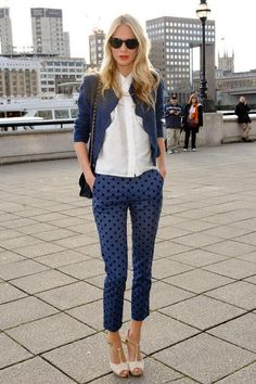 Poppy Delevingne with a cute suiting outfit idea, mixing trousers and a blazer