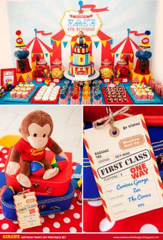 CURIOUS George Circus Birthday Party Printable Set - Cupcake Toppers, Bottle Labels, Favor Tags and more. $30.00, via Etsy.