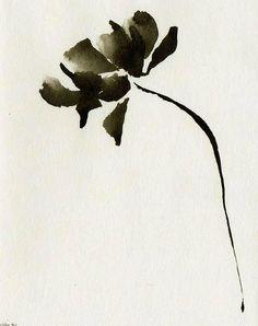Original Ink art drawing on acid free paper / black and white, ink dark, ink wash, art flower, by Cristina Ripper via Etsy