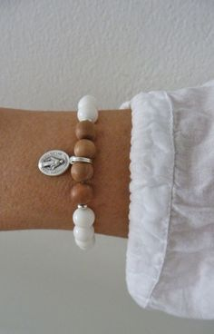white shell sandalwood bracelet silver miraculous bracelet by beachcombershop on Etsy