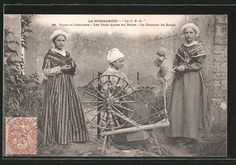 Normandy, France; The three friends and spinning wheel