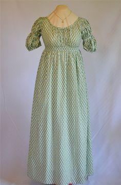 Regency Dress Green Print Jane Austen Ball Gown by bonnybluearts, $210.00