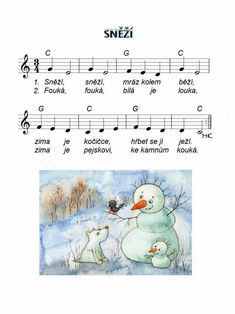 Sněží Winter Project, Kids Songs, Piano, Sheet Music, Teaching, Education, How To Make, Winter, School