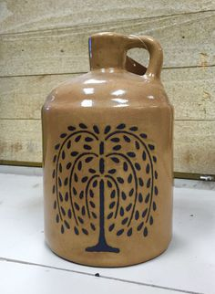 New Primitive Country Folk Art BLACK WILLOW TREE Tan Pottery Jug Crock #Country