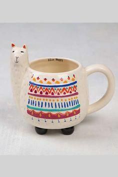 Live Happy Llama Folk Mug   Natural Life