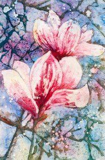 Magnolias - Watercolor Batik.    Linda Virio