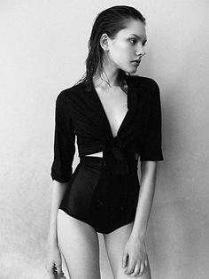 high waist black bottoms + black silk blouse   Dmitriy Chinovnikov