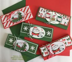 Stocking Stuffers (Hershey's chocolate bar) - Santa's Workshop DSP, Signs of Santa, Santa's Signpost Framelits, Baker's Twine, Layering Ovals Framelits Christmas Gift Card Holders, Christmas Favors, Stampin Up Christmas, Christmas Paper, Xmas Cards, Christmas Crafts, Greeting Cards, Christmas Ideas, Christmas Boxes