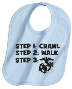 Crawl walk marine marines military cool custom  baby infant bib color choice pink blue black white shower  gift idea