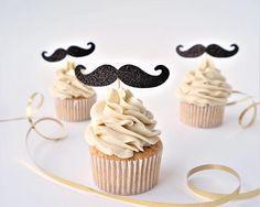 12 glitter moustache cupcake toppers, glitter mustache topper, glitter cupcake decoration, baby shower topper, little man cake topper