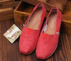 Toms Bamboo Pattern Stitchouts Women Shoes Red