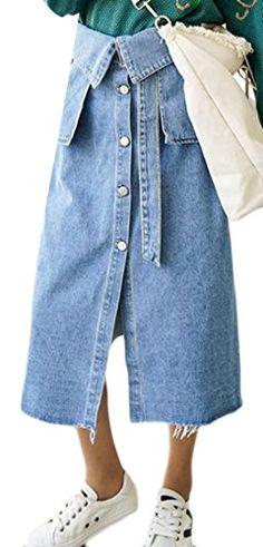 e0109175be Unko Womens Comfy High Waist Button Midi ALine Slit Denim Skirts Blue M --  Amazon most trusted e-retailer  SummerOutfit