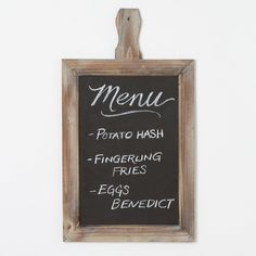 Chalkboard Message Board $20.00  A natural wood finish and handled frame give this chalkboard the distinct look of a tablet once used in an old schoolhouse. Hang one in an entryway to welcome guests to your home, or lean a pair on your kitchen countertop to track grocery lists and to-do's.  #designsponge #dssummerparty