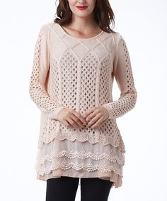 Look what I found on #zulily! Simply Couture Pink Scallop-Layered Sweater Tunic by Simply Couture #zulilyfinds