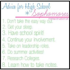 High school advice for sophomores High School Quotes, High School Hacks, High School Life, Life Hacks For School, School Study Tips, School Tips, School Stuff, School Ideas, School Routines