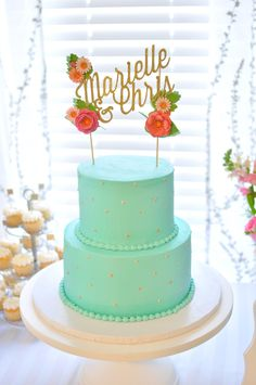 Aqua and gold cake with gold topper.  Cake: Simply Cakes | Cake Topper: Paper Treats