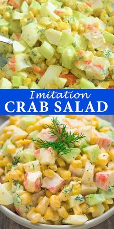 Imitation Crab Salad – quick and easy crab salad made with crunchy cucumbers, sweet corn, and hard-boiled eggs. Perfect for lunch, dinner, or on a sandwich! Imitation Crab Recipes, Imitation Crab Salad, Crab Pasta Salad, Seafood Salad, Seafood Appetizers, Seafood Recipes, Seafood Dinner, Sea Food Salad Recipes, Healthy Recipes