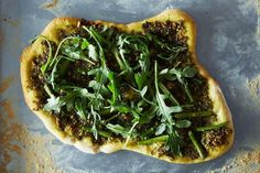 Asparagus and Arugula Pizza with Vegan Pesto, a recipe on Food52
