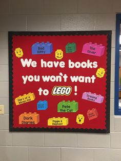 library themes for elementary school Lego Bulletin Board, Elementary Bulletin Boards, Reading Bulletin Boards, Winter Bulletin Boards, Elementary School Library, Preschool Bulletin Boards, School Libraries, Christmas Library Bulletin Boards, Bullentin Boards