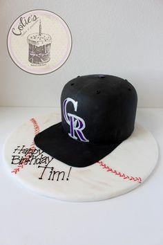 Colorado Rockies hat cake Birthday cake. Baseball hat cake.  Baseball cake board