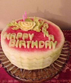 Watermelon Fruit Carving - Birthday Cake