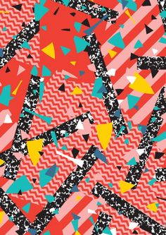 Modern Memphis Milan Inspired Primary Color Geometric Stripe Design Red Confetti 80s Party Art Print