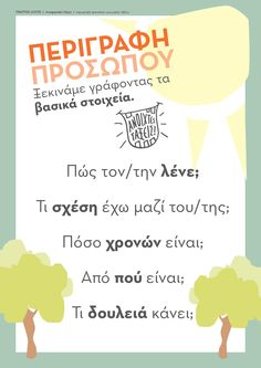 Πλάνο περιγραφής προσώπων Writing Strategies, Writing Resources, Teaching Resources, Vocabulary Exercises, Grammar Exercises, Speech Language Therapy, Speech And Language, Early Education, Special Education