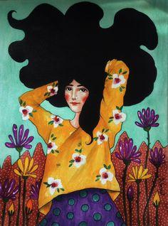 'but her mind is racing' by Hülya Özdemir Kunst Inspo, Art Inspo, Art And Illustration, Cartoon Illustrations, Art Plastique, Love Art, Female Art, Art Girl, Watercolor Art