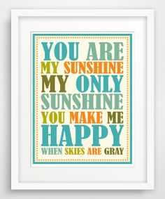 Blue & Orange 'You Are My Sunshine' Giclée Print | Daily deals for moms, babies and kids