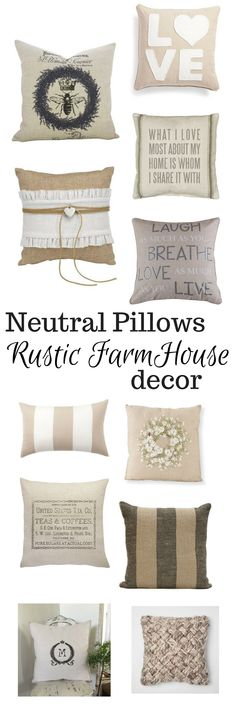 Collection of pretty neutral pillows to the finishing touches to any rustic farmhouse decor. #homedecor #rustic #farmhouse #ad #pinning #heutralpillows