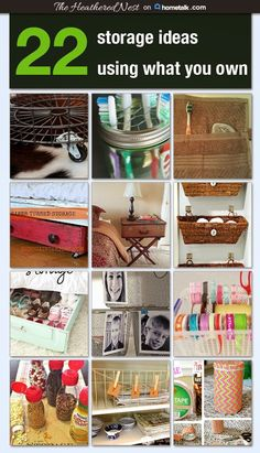 22 Fast & Furious Storage Ideas, Using (Mostly) Items You Already Own! | The Heathered Nest http://www.heatherednest.com/2015/01/22-fast-furious-storage-ideas-using.html