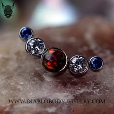 ANATOMETAL Titanium 5 Gem Threaded Cluster. Gem Colors, Sapphire, CZ, and Red Opal #20. Great for Conch, Helix, and Cartilage Piercings!