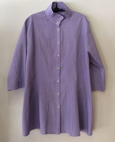 Blue-violet pintucked cotton shirt