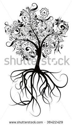 stock vector : Decorative tree & roots , vector illustration