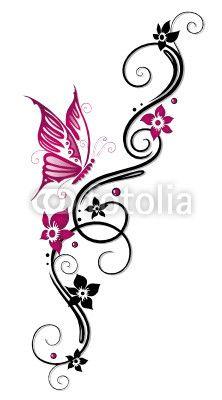 Papier peint Ranke, flore, fleurs, papillons, noir, rose