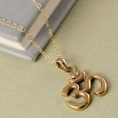 Gold Om Necklace Buddhist Jewelry Good by anatoliantaledesign