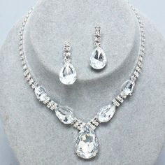 #Beautiful #Wedding #Bridal #Prom #SILVER #CLEAR #Rhinestone #Costume #Jewelry #Necklace #Earrings #Set