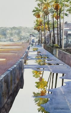 """Kathleen Lanzoni fine watercolor artist, After the Rain 14"""" x 22"""" original watercolor - giclee available"""