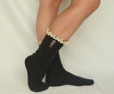 Black lace boot socks with cotton lace and buttons so by bstyle, $24.00