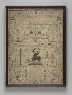 Museum of Fine Arts, Boston - 1757 Sampler Embroidered by Martha King Fines (English, born in 1748 )