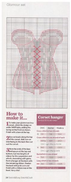 point de croix Corset rose - cross stitch pink corset