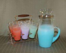 1950's West Virginia Glass Blendo 7 piece frostedl gold rim beverage set