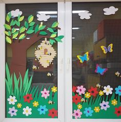 - Decoration For Home School Board Decoration, Class Decoration, School Decorations, Diy And Crafts, Arts And Crafts, Paper Crafts, Preschool Decor, Spring Crafts For Kids, Window Art