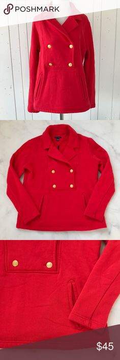 Tommy Hilfiger Pullover Peacoat Sweatshirt Comfy yet chic pullover peacoat from Tommy Hilfiger. Sweatshirt material. Bright red with gold buttons. Size M. Excellent condition, no flaws to note. Tommy Hilfiger Tops Sweatshirts & Hoodies