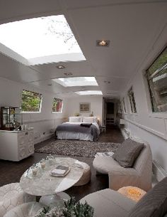 Interior of boat, I would lie in bed and look at the stars