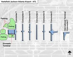 hartsfield jackson atlanta atl terminal map showing parking facilities maps concourse maps and gate locations