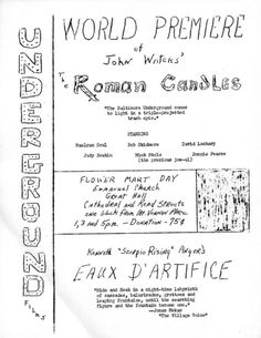 Roman Candles (1966) Directed by John Waters, featuring Divine's screen debut, starring Maelcum Soul, Bob Skidmore, David Lochary, Mona Montgomery, Mink Stole and Mary Vivian Pearce