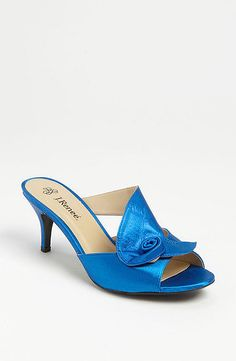 """The Tall Bride's Shoe Guide — 20 Low-Heeled Shoes For Your Big Day: These sculptural J.Renee Joslin Sandals ($85) are another great option for your """"something blue"""" shoes — they come in at two-and-a-half inches tall and are available in up to a size 12."""